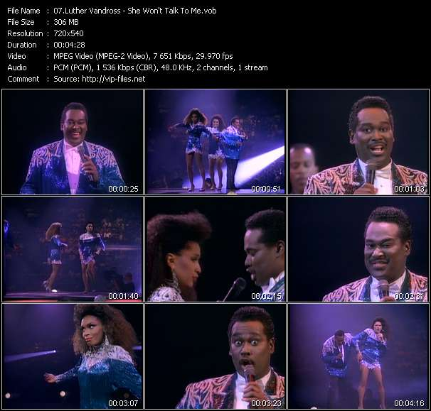Luther Vandross clips musicaux vob