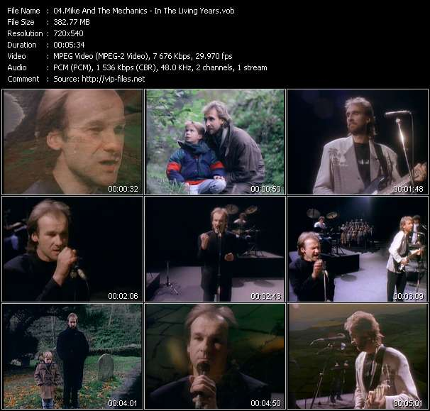 Screenshot of Music Video Mike And The Mechanics - In The Living Years