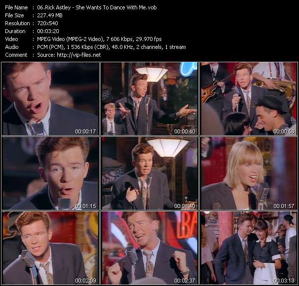 Screenshot of Music Video Rick Astley - She Wants To Dance With Me