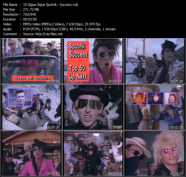 Screenshot of Music Video Sigue Sigue Sputnik - Success