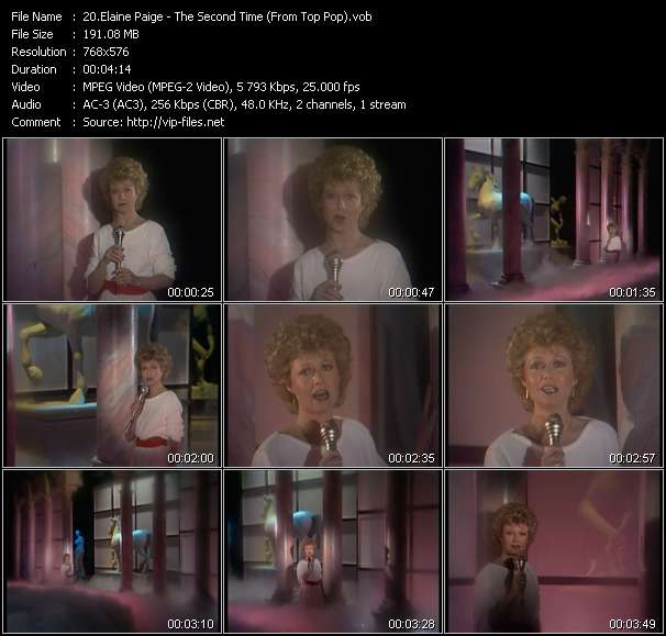 Screenshot of Music Video Elaine Paige - The Second Time (From Top Pop)