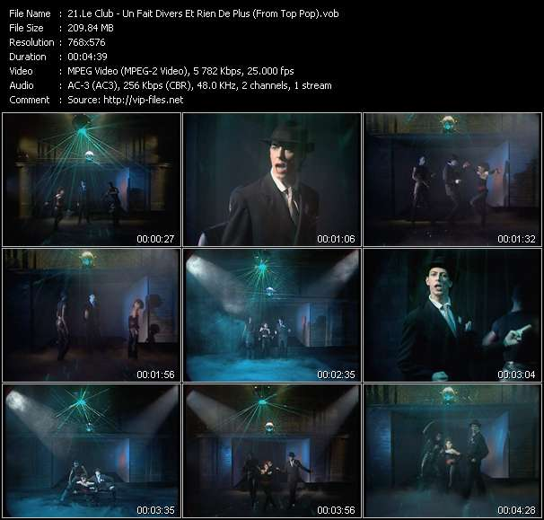 Screenshot of Music Video Le Club - Un Fait Divers Et Rien De Plus (From Top Pop)