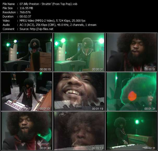 Screenshot of Music Video Billy Preston - Struttin' (From Top Pop)