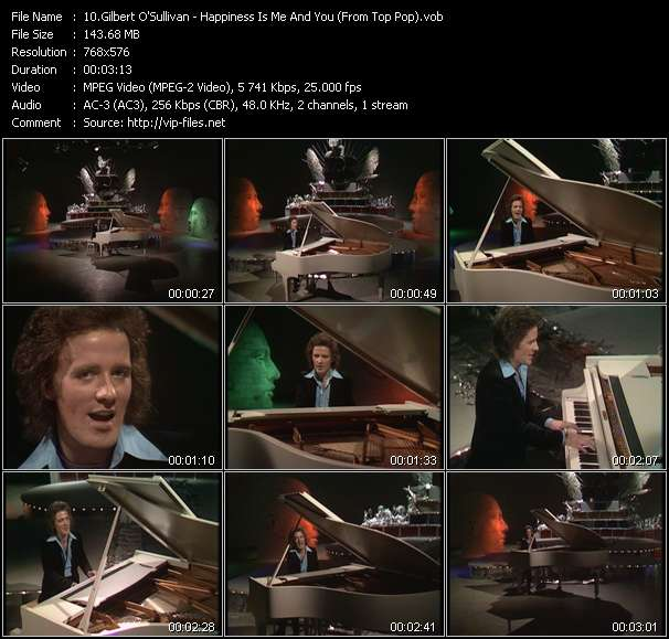 Screenshot of Music Video Gilbert O'Sullivan - Happiness Is Me And You (From Top Pop)