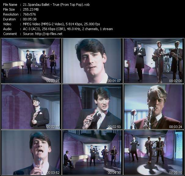 Screenshot of Music Video Spandau Ballet - True (From Top Pop)