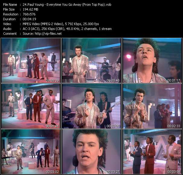 Screenshot of Music Video Paul Young - Everytime You Go Away (From Top Pop)