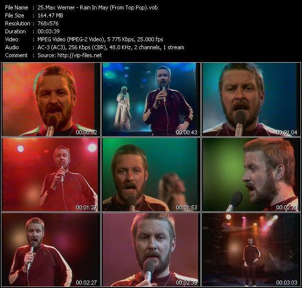 Screenshot of Music Video Max Werner - Rain In May (From Top Pop)