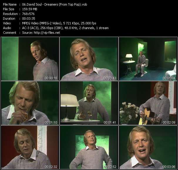 Screenshot of Music Video David Soul - Dreamers (From Top Pop)