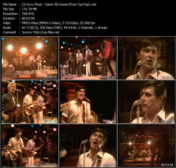 Screenshot of Music Video Roxy Music - Same Old Scene (From Top Pop)