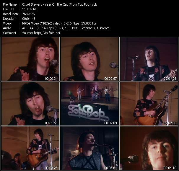 Screenshot of Music Video Al Stewart - Year Of The Cat (From Top Pop)