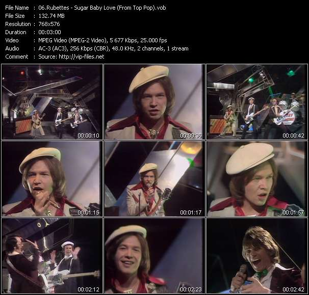 Screenshot of Music Video Rubettes - Sugar Baby Love (From Top Pop)