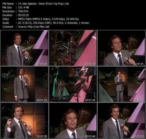 Screenshot of Music Video Julio Iglesias - Amor (From Top Pop)