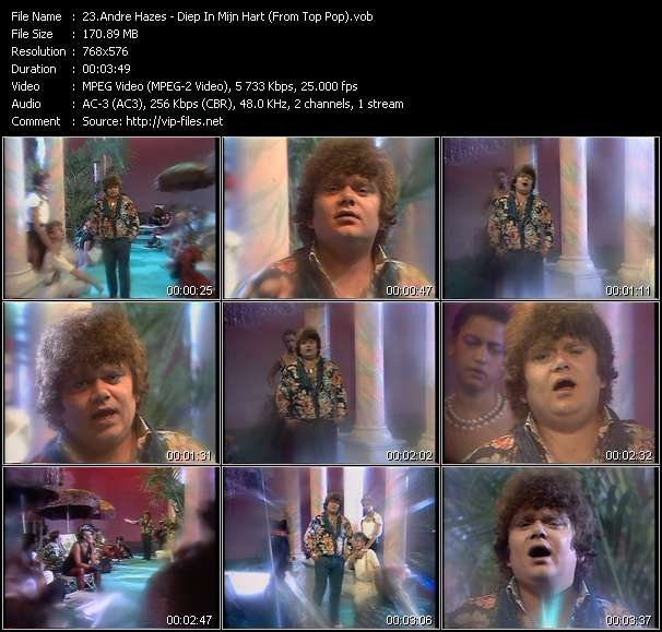 Screenshot of Music Video Andre Hazes - Diep In Mijn Hart (From Top Pop)