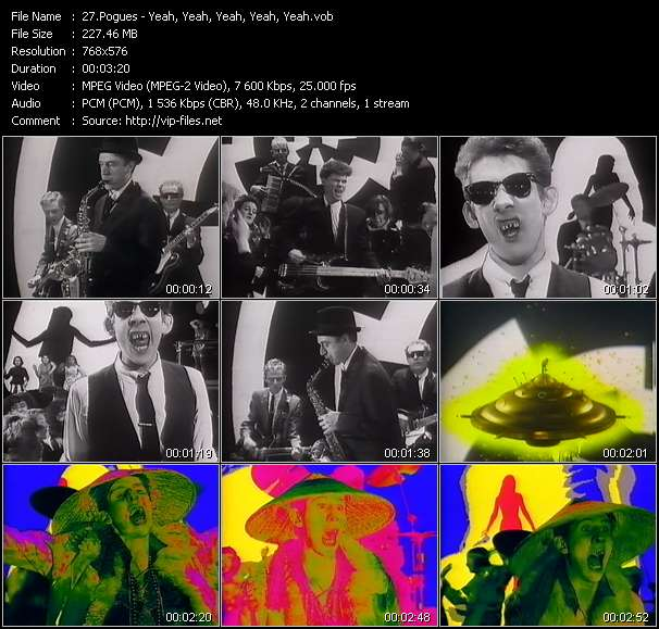 Screenshot of Music Video Pogues - Yeah, Yeah, Yeah, Yeah, Yeah