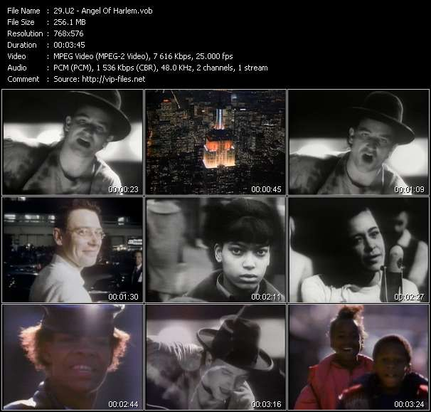 Screenshot of Music Video U2 - Angel Of Harlem