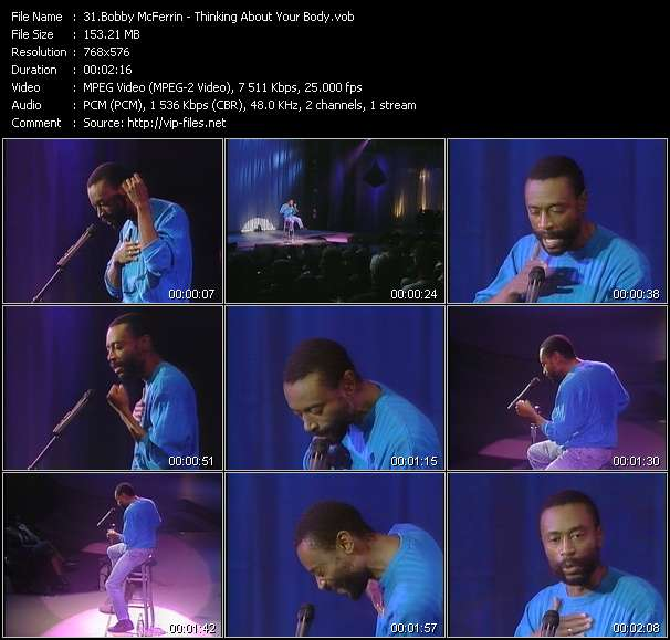 Screenshot of Music Video Bobby McFerrin - Thinking About Your Body