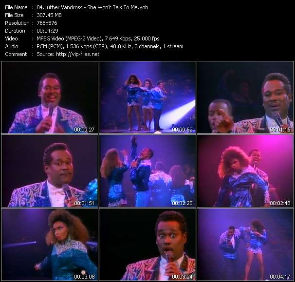 Screenshot of Music Video Luther Vandross - She Won't Talk To Me