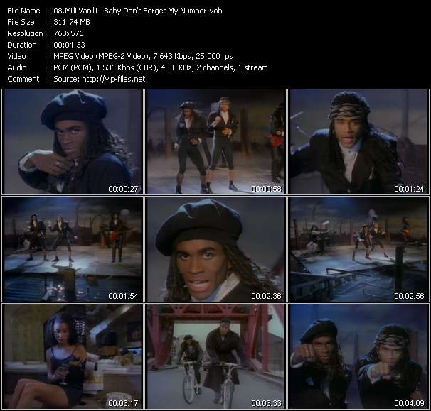 Screenshot of Music Video Milli Vanilli - Baby Don't Forget My Number