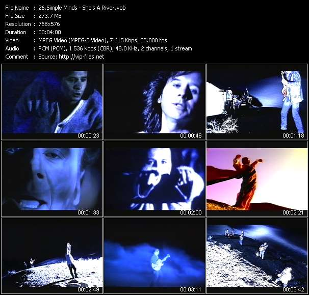 Screenshot of Music Video Simple Minds - She's A River