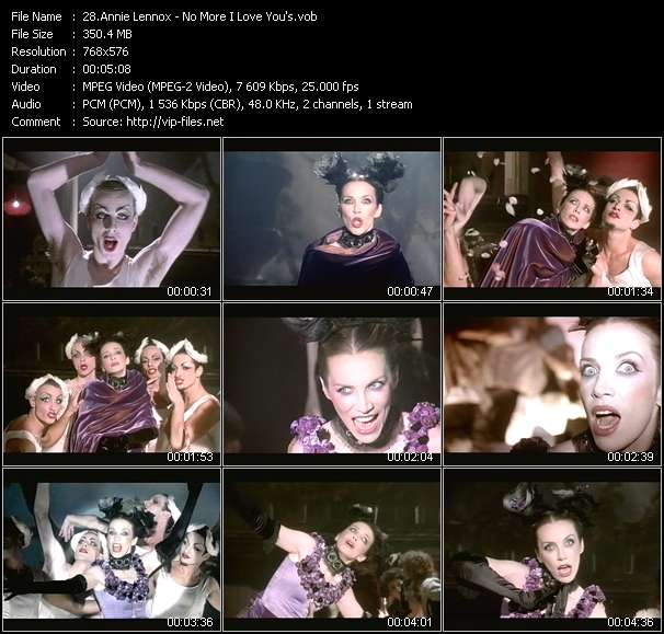 Screenshot of Music Video Annie Lennox - No More I Love You's