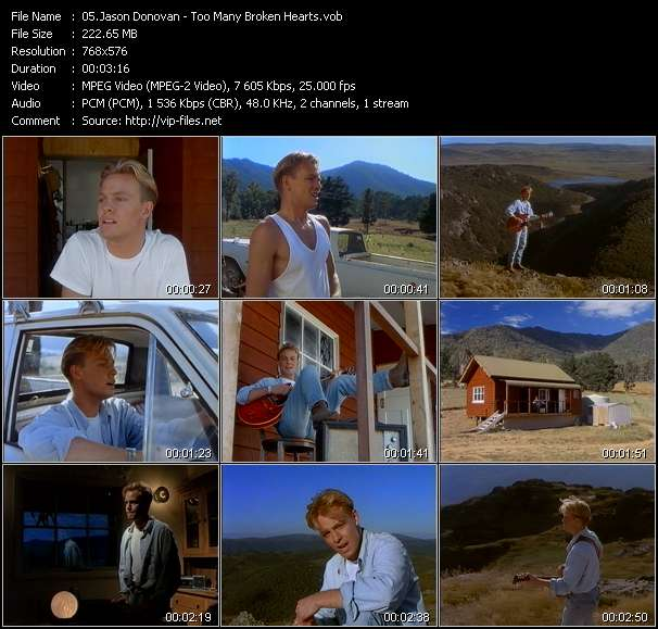 Screenshot of Music Video Jason Donovan - Too Many Broken Hearts