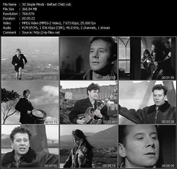 Screenshot of Music Video Simple Minds - Belfast Child