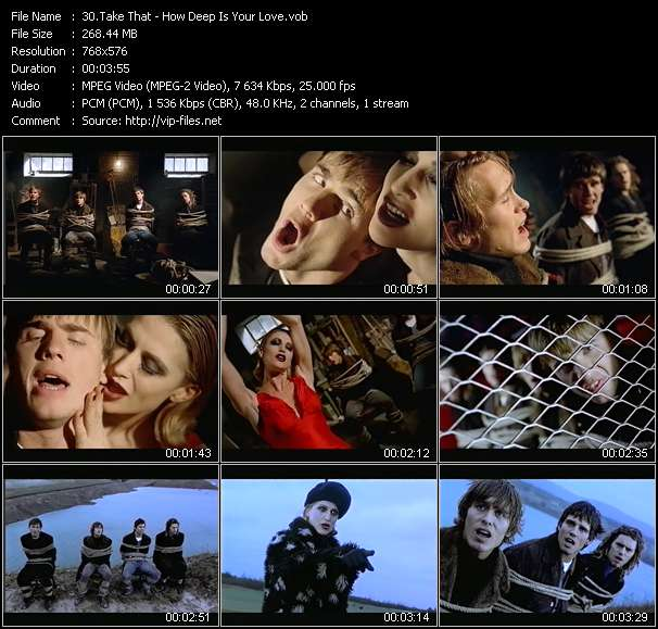 Screenshot of Music Video Take That - How Deep Is Your Love