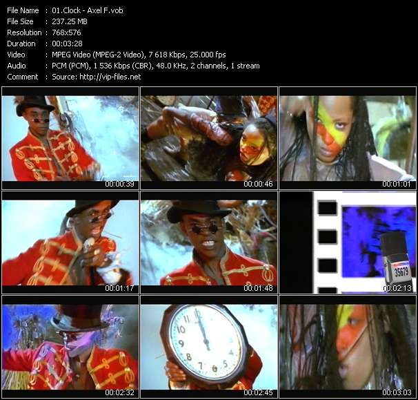 Screenshot of Music Video Clock - Axel F