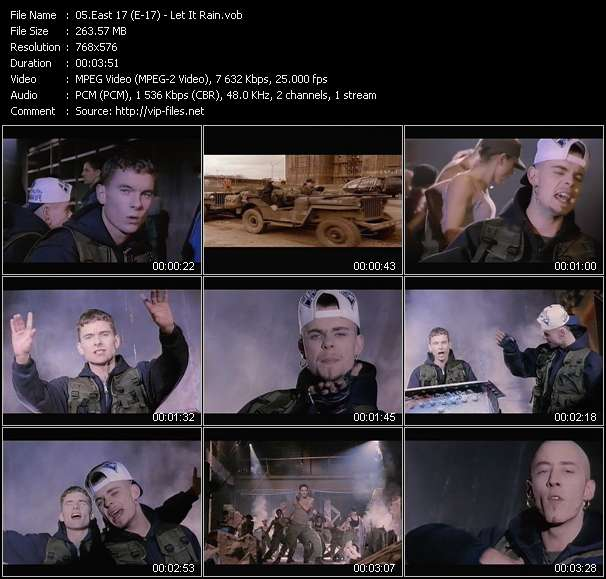 Screenshot of Music Video East 17 (E-17) - Let It Rain