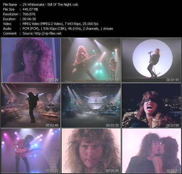 Screenshot of Music Video Whitesnake - Still Of The Night