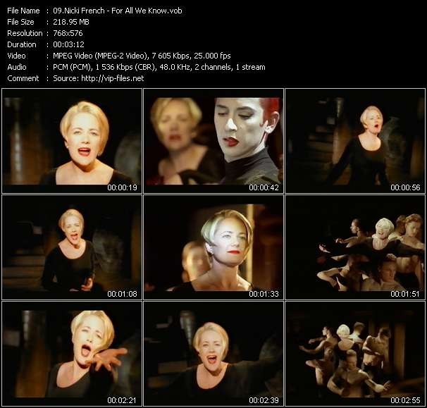 Screenshot of Music Video Nicki French - For All We Know