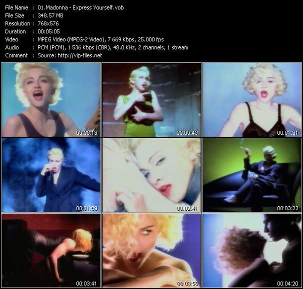 Screenshot of Music Video Madonna - Express Yourself