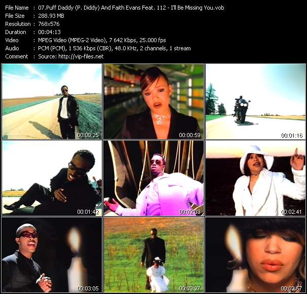 Screenshot of Music Video Puff Daddy (P. Diddy) And Faith Evans Feat. 112 - I'll Be Missing You
