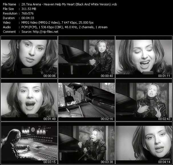 Screenshot of Music Video Tina Arena - Heaven Help My Heart (Black And White Version)
