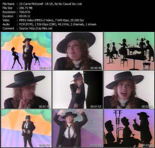 Screenshot of Music Video Carrie McDowell - Uh Uh, No No Casual Sex