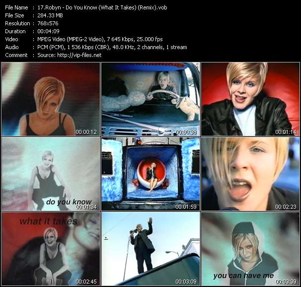 Screenshot of Music Video Robyn - Do You Know (What It Takes) (Remix)
