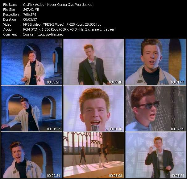 Screenshot of Music Video Rick Astley - Never Gonna Give You Up