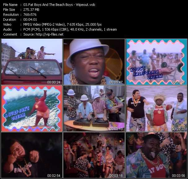 Screenshot of Music Video Fat Boys And The Beach Boys - Wipeout