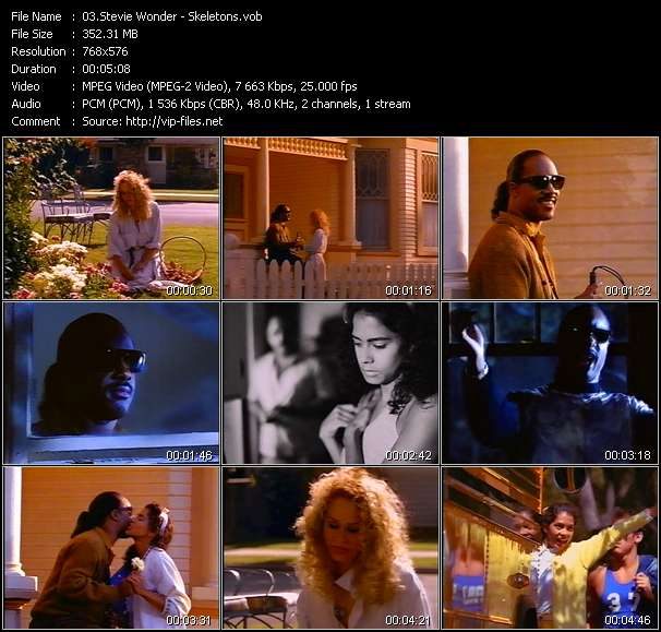 Screenshot of Music Video Stevie Wonder - Skeletons