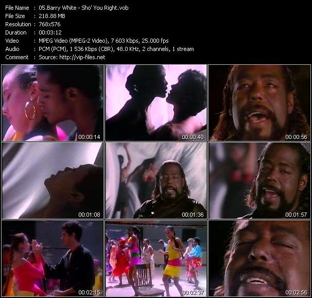 Screenshot of Music Video Barry White - Sho' You Right