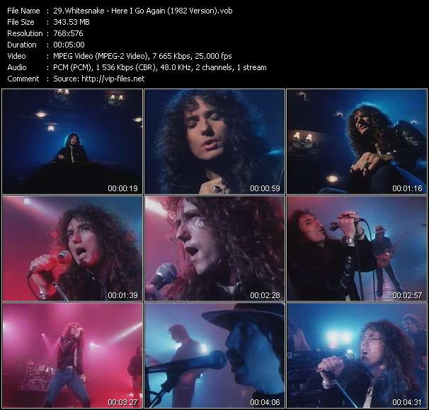 Screenshot of Music Video Whitesnake - Here I Go Again (1982 Version)