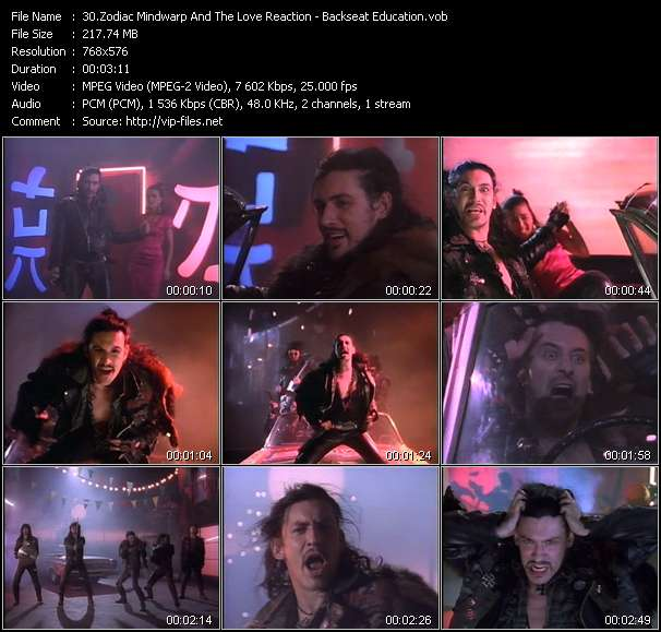 Screenshot of Music Video Zodiac Mindwarp And The Love Reaction - Backseat Education