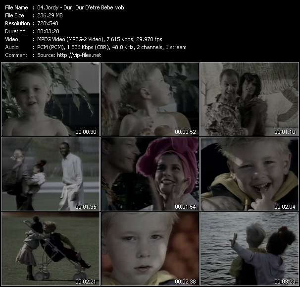 Screenshot of Music Video Jordy - Dur, Dur D'etre Bebe
