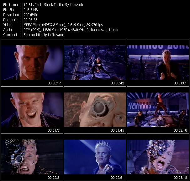 Screenshot of Music Video Billy Idol - Shock To The System