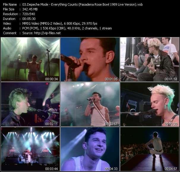 Screenshot of Music Video Depeche Mode - Everything Counts (Pasadena Rose Bowl 1989 Live Version)