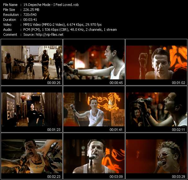 Screenshot of Music Video Depeche Mode - I Feel Loved
