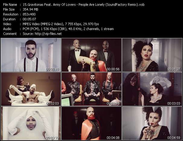 Screenshot of Music Video Gravitonas Feat. Army Of Lovers - People Are Lonely (SoundFactory Remix)