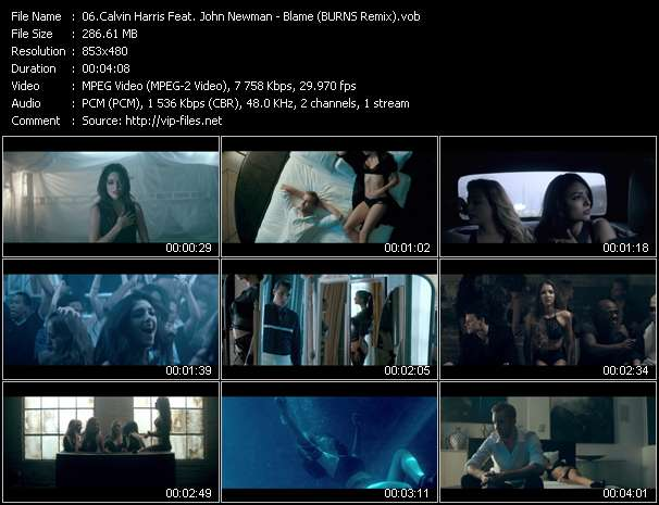 Screenshot of Music Video Calvin Harris Feat. John Newman - Blame (BURNS Remix)