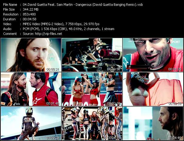 Screenshot of Music Video David Guetta Feat. Sam Martin - Dangerous (David Guetta Banging Remix)