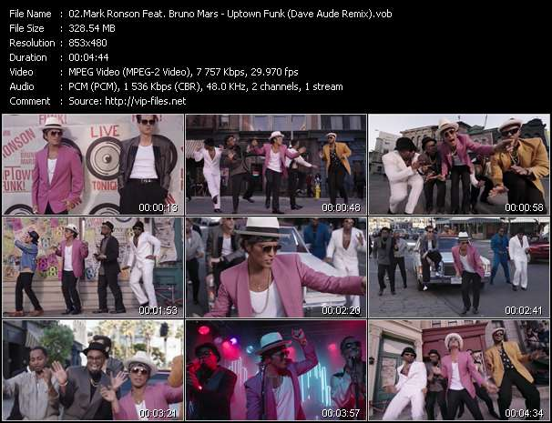 Screenshot of Music Video Mark Ronson Feat. Bruno Mars - Uptown Funk (Dave Aude Remix)